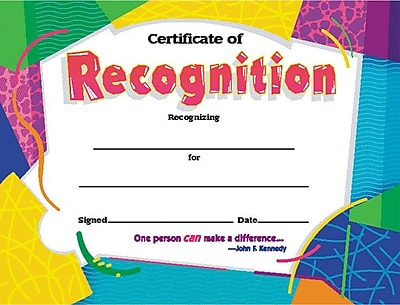 Trend Enterprises© Certificate of Recognition Award, Assorted Colors, 8 1/2