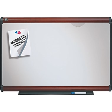 Quartet® Prestige Plus® DuraMax® Porcelain Dry-Erase Boards with Mahogany Finish Frame