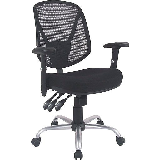 staples acadia ergonomic mesh mid back office chair with arms black