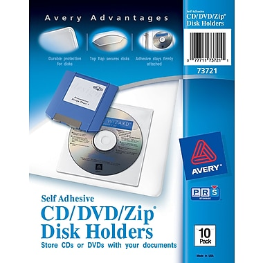 Avery® Self-Adhesive CD/DVD/Zip Disk Holders 10/Pack (73721)