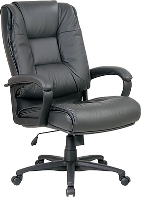 Office Star™ Leather Executive Office Chair, Charcoal, Fixed Arm (EX5162-G12)