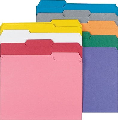 Staples® Colored File Folders w/ Reinforced Tabs, Letter, 3 Tab, 9 Color Assortment, 250/Box