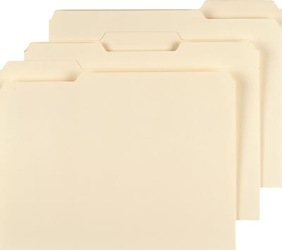 Staples® 3 Tab Heavyweight Manila File Folders, Letter Size, 50/Box