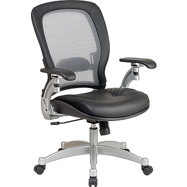 Office Star Leather Executive Office Chair, Black/Platinum, Adjustable Arm (3680)