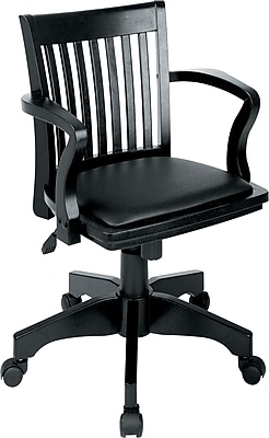 Office Star Wood Chair; Black with Black Vinyl Pad