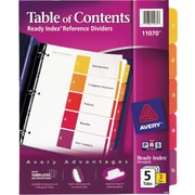 Avery® Ready Index® 11070 Table of Contents Divider, Multicolor