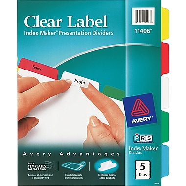 Avery® Index Maker Clear Label Tab Dividers, 5-Tab, Multicolor, 1 Set/Pack