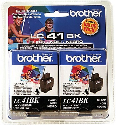 Brother Ink Cartridges, LC41 (LC-41BK2PK), Black, 2/Pack
