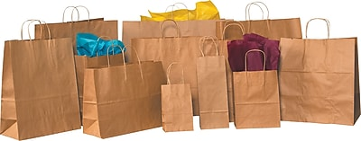 Staples® Kraft Paper Shopping Bags, 5 1/4