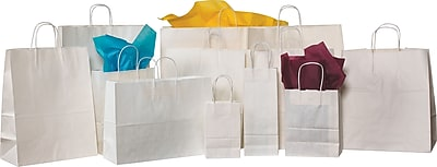 Staples® White Shopping Bags, 16