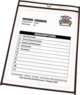 C-Line Stitched Job Ticket Holders, Clear with Black Stitching, 11