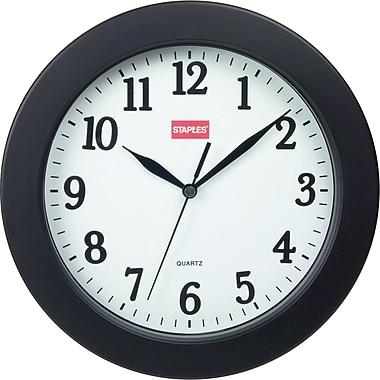 Staples® - Horloge murale ronde, 10 po, noire