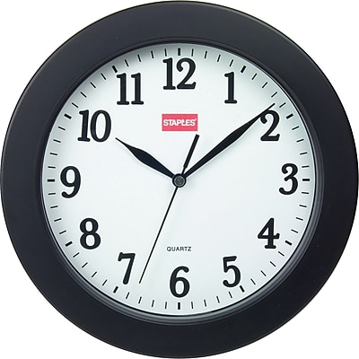 "Staples 10"" Round Wall Clock, Black"