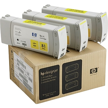 HP 81 Yellow Ink Cartridges (C5069A), 3/Pack