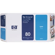 HP 80 Cyan Ink Cartridge (C4846A), 350ml