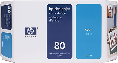 HP 80 Cyan Ink Cartridge (C4846A), 350ml