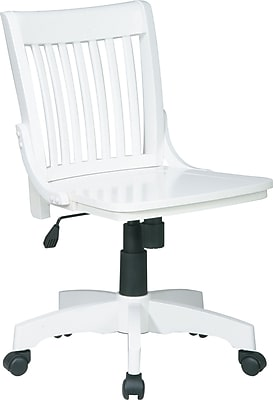 Office Star Wood Computer and Desk Office Chair, White, Armless Arm (101WHT)