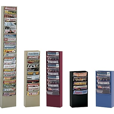 Durham Con-Tur® Vertical Literature Racks, 5 Pockets, Blue