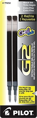 Pilot G2 Gel Roller Refill, Extra Fine Point, Black, 2/Pack (77232)