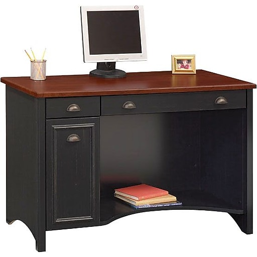 Bush Furniture Stanford Computer Desk with Drawers, Antique Black/Hansen  Cherry (WC53918-03) - Bush Furniture Stanford Computer Desk, Antique Black/Hansen Cherry