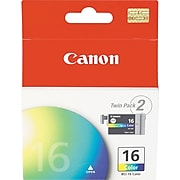 Canon BCI-16 Yellow Standard Yield Ink Cartridge, 2/Pack (9818A003)