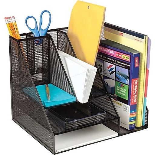 Staples Wire Mesh Giant Desk Organizer Black Rollover Image To Zoom In S 3p Com S7 Is