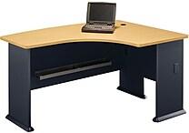 Bush Business Cubix 60W x44D Right Hand L-Bow Desk, Euro Beech/Slate, Installed