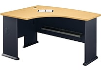 Bush Business Cubix 60W x 44D Left Hand L-Bow Desk, Euro Beech/Slate, Installed