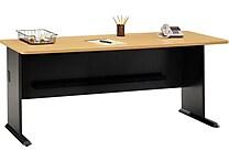 Bush Business Cubix 72W Desk, Euro Beech/Slate