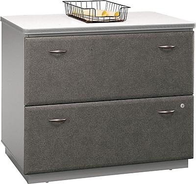 Bush Business Furniture Cubix 36W 2 Drawer Lateral File Cabinet, Pewter, Assembled (WC14554ASUIR)