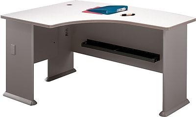 Bush Business Cubix 60W x 44D Left Hand L-Bow Desk, Pewter/White Spectrum, Installed