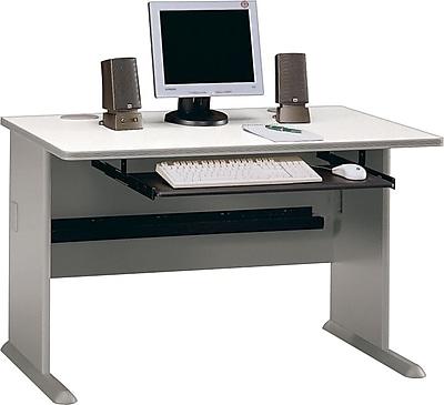 Bush Business Cubix 48W Desk, Pewter/White Spectrum, Installed