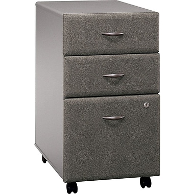 Bush Business Cubix 3-Drawer Mobile Pedestal, Pewter/White Spectrum, Pre-Assembled