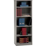 Bush Business Cubix 26W 5 Shelf Bookcase, Pewter/White Spectrum