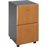 Bush Business Cubix 2Dwr Mobile Pedestal, Natural Cherry/Slate, Pre-Assembled