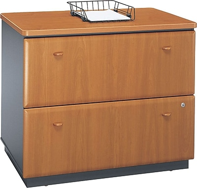 Bush Business Cubix 36W 2Dwr Lateral File; Natural Cherry/Slate, Installed