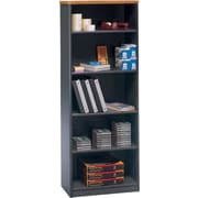 Bush Business Cubix 26W 5 Shelf Bookcase, Natural Cherry/Slate