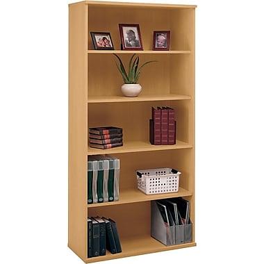 Bush Cubix 5-Shelf Bookcase, Danish Oak and Sage