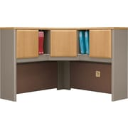 Bush Business Cubix 48W Corner Hutch, Danish Oak/Sage, Installed