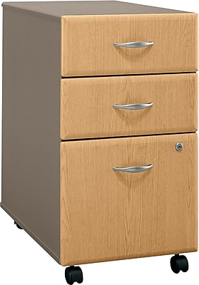 Bush Business Cubix 3Dwr Mobile Pedestal, Danish Oak/Sage, Pre-Assembled
