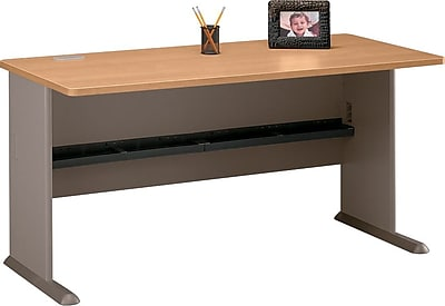 Bush Business Cubix 60W Desk, Danish Oak/Sage, Installed