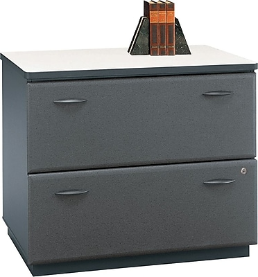 Bush Business Cubix 36W 2Dwr Lateral File, Slate/White Spectrum, Pre-Assembled