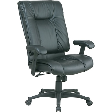 Office Star™ Leather Managers Office Chair, Black, Adjustable Arm (EX9382-3)