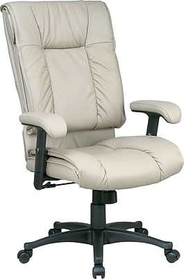 Office Star™ Leather Managers Office Chair, Tan, Adjustable Arm (EX9382-1)