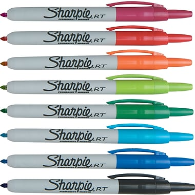 Sharpie® Permanent Markers, Retractable, Fine Tip, Assorted, 8/Pack