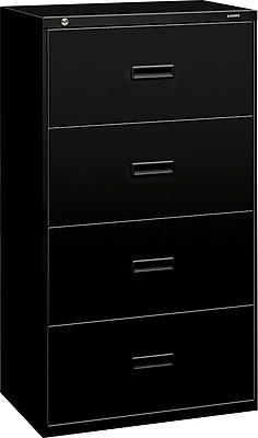 """HON Lateral File, 4 Drawers, Molded Pull, 30""""W, Black Finish (BSX434LP)"""