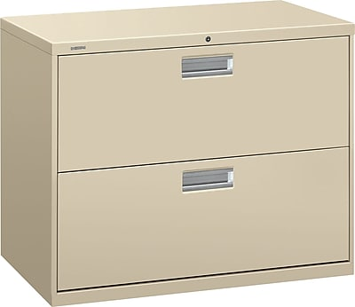 HON Brigade 600 Series Lateral File, 2 Drawers, Aluminum Pull, 36