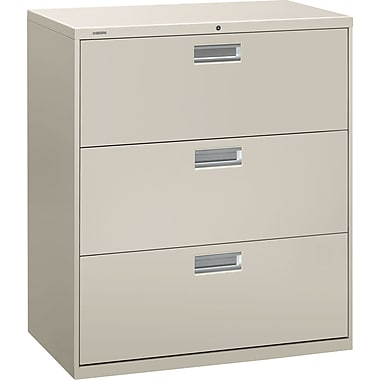 HON® Brigade 600 Series Lateral File Cabinet, A4/Legal/Letter, 3-Drawer, Light Gray, 19 1/4