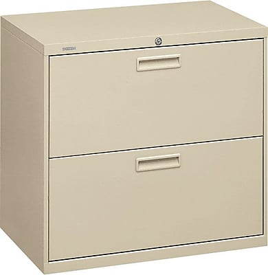 HON® Brigade® 500 Series 2 Drawer Lateral File Cabinet, Letter/Legal, Putty, 30