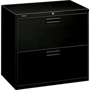 "HON® Brigade® 500 Series 2 Drawer Lateral File Cabinet, Letter/Legal, Black, 30""W (H572LP)"